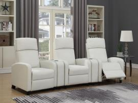Amelia by Coaster 603181 White Leatherette Theater Reclining Sectional