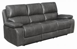 Ravenna by Coaster 603211PP Charcoal Padded Breathable Leatherette Power Headrest & Power Reclining Sofa