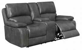 Ravenna by Coaster 603212P Charcoal Padded Breathable Leatherette Power Reclining Loveseat
