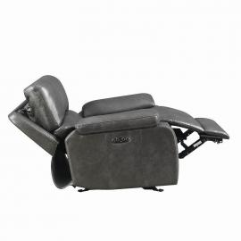 Ravenna by Coaster 603212PP Charcoal Padded Breathable Leatherette Power Headrest & Power Reclining Loveseat