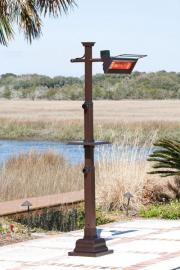 Hammer Tone Bronze Mission Design Pole Mounted Infrared Patio Heater w/ Table