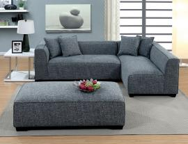 Jaylene 6120 Gray Padded Linen Sectional Sofa