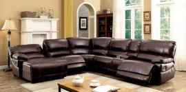Estrella 6131BR Brown Reclining Chaise Console Sectional Sofa