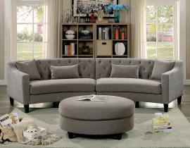 Sarin 6370 Grey Rounded Tufted Back Sectional Sofa