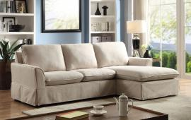 Maxine 6379BG Beige Knife Edge Sectional Sofa