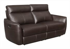 Scranton by Coaster 650211PP Dark Brown Padded Breathable Leatherette Power Headrest & Power Reclining Sofa