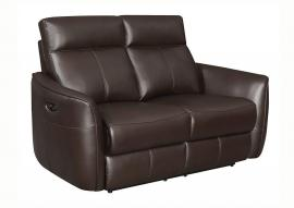 Scranton by Coaster 650212PP Dark Brown Padded Breathable Leatherette Power Headrest & Power Reclining Loveseat