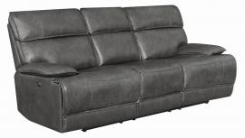 Stanford by Coaster 650221PP Charcoal Top Grain leather Match Power Headrest & Power Reclining Sofa