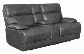 Stanford by Coaster 650222PP Charcoal Top Grain leather Match Power Headrest Power Reclining Loveseat