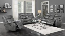 Conrad by Coaster 650354 Grey Padded Breathable Leatherette Reclining Sofa