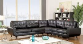 Kate 6506 Black Mid Century Modern Sectional Sofa