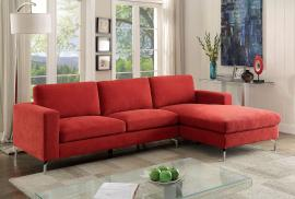 Kallie 6849 Red Contemporary Sectional With Chaise