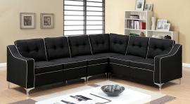 Glenda 6851BK Black Contemporary Sectional Sofa