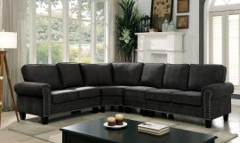 Elwick 6885 Dark Gray Rolled Arm Nailhead Trim Sectional