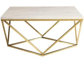 Coaster 700846 White & Brass  Finish Coffee Table