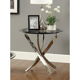 Contemporary End Table 702587 Round Curved Nickel & Glass