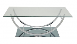 Coaster 704988 Chrome Finish with Tempered Glass Coffee Table