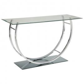 Coaster 704989 Chrome Finish with Tempered Glass Sofa Table
