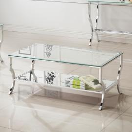 Coaster 720338 Chrome with Tempered Glass Finish Coffee Table