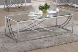 Coaster 720498 Chrome Finish with Tempered Glass Coffee Table