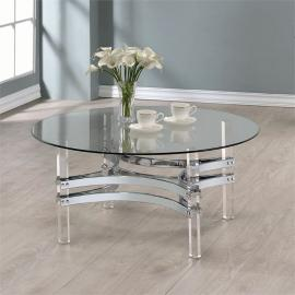 Coaster 720708 Chrome & Clear Acrylic Finish Coffee Table