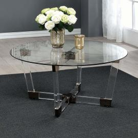 Coaster 720718 Chocolate Chrome & Clear Acrylic Finish Coffee Table