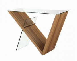 Coaster Contemporary 721379 Walnut & Glass Sofa Table