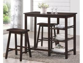 Nyssa by Acme 73050 Walnut Finish Counter Height Table 3 PC Set