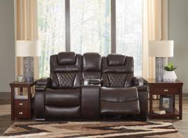 Warnerton-Chocolate by Ashley 75407-18 Power Reclining Loveseat w/ Adjustable Headrests