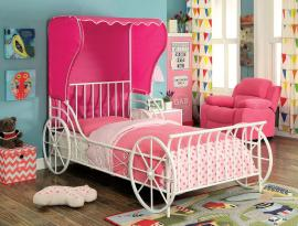 Charm Collection 7715T Twin Pink and White Carriage-Style Bed