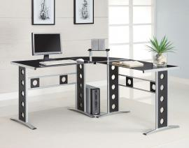 Laughlin Collection 800228 Black and Silver 3 Piece Computer Desk Set