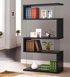 Bridget Collection 800340 Black 4-Tiered Bookshelf