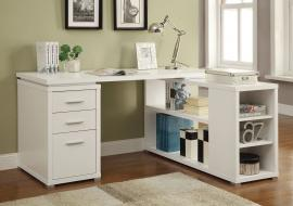 Yvette Collection 800516 L-Shaped White Office Desk
