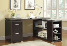 Yvette Collection 800517 L-Shaped Cappuccino Office Desk