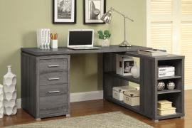 Yvette Collection 800518 L-Shaped Weathered Grey Office Desk