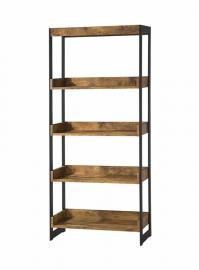 Lester Collection 800657 Four-Tier Nutmeg Brown and Dark Metal Bookcase