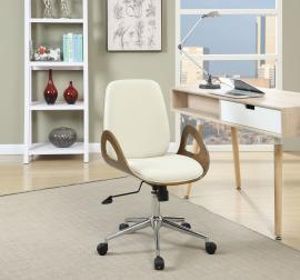 Ecru 800737 Mid Century Modern White & Walnut Office Chair