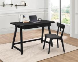 Minerva Collection 800899 2-Piece Black Desk and Chair Set