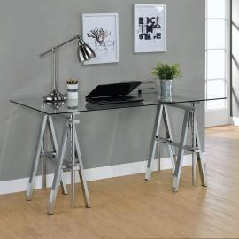 Adjustable Height 800900 Tempered Clear Glass Desk