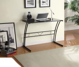 Genevieve Collection 800906 Black Writing Desk with Tempered Glass Top