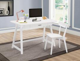 Minerva Collection 801108 2-Piece White Desk and Chair Set