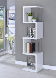 Winslow Collection 801418 White and Chrome Contemporary Bookcase