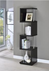 Winslow Collection 801419 Black and Chrome Contemporary Bookcase