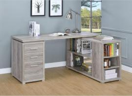 Yvette Collection 801516 L-Shaped Grey Driftwood Office Desk