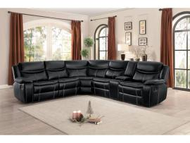 Barstrop Leather Sectional 8230BLK by Homelegance