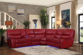 Pecos Red Leather Power Sectional 8480RED by Homelegance