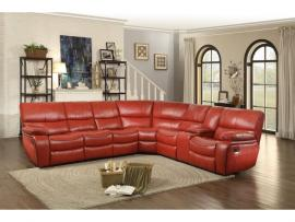 Pecos Red Leather Sectional 8480RED by Homelegance