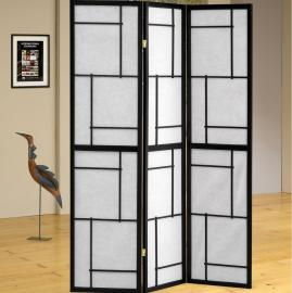 Three Panel Black Contemporary Screen with White Rice Paper By Coaster 900102