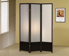Three Panel Black Contemporary with Clear White Screen by Coaster 900120