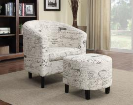 Accent Chair by Coaster 900210 Off White Fabric with Ottoman